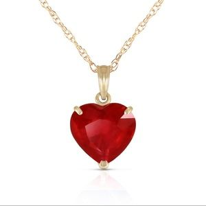 ❤️🔥14K SOLID GOLD NECKLACE NATURAL 10mmHEART RUBY